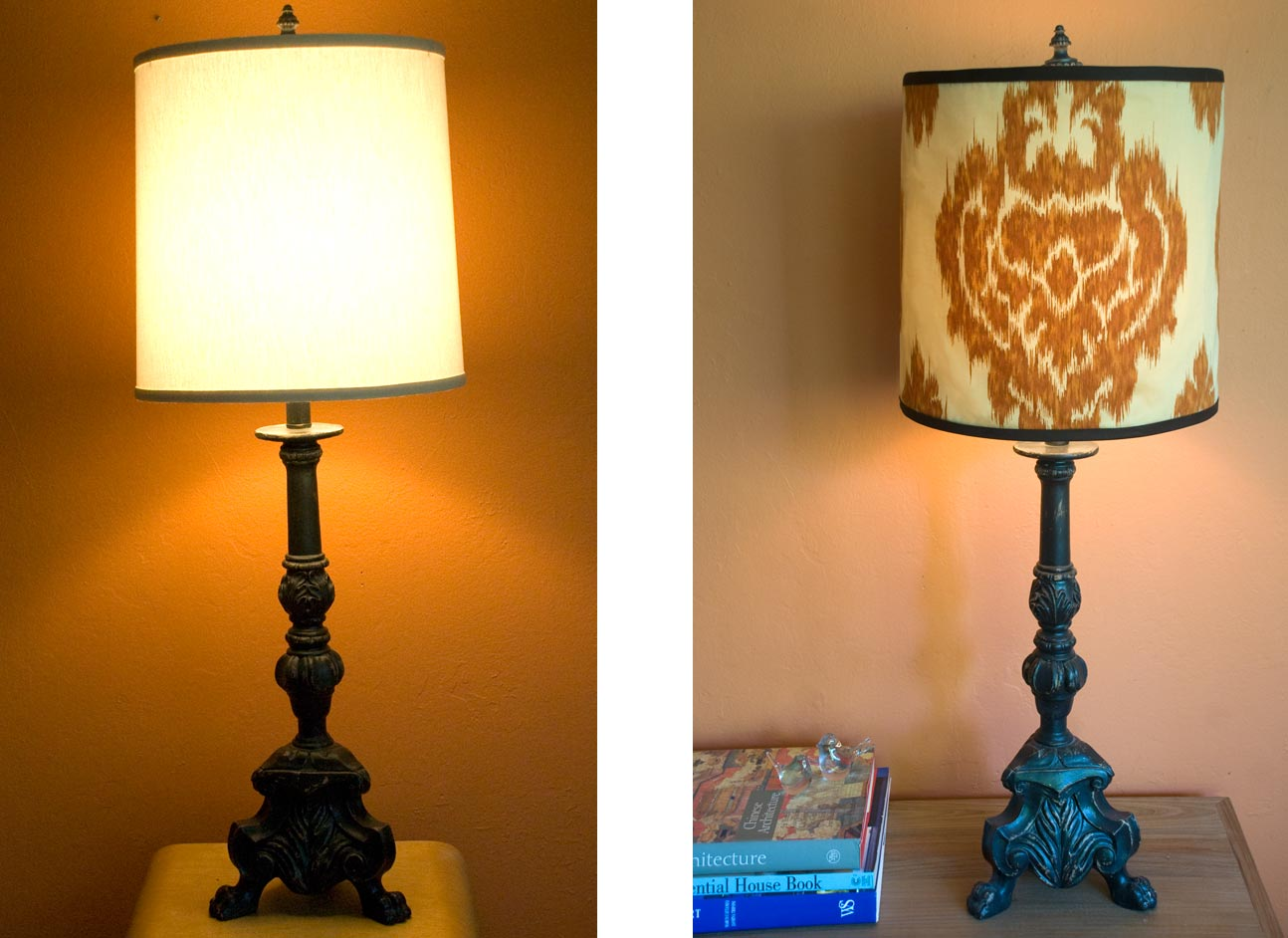 Diy salvage making a lamp shade cover forma living lamp before and after aloadofball