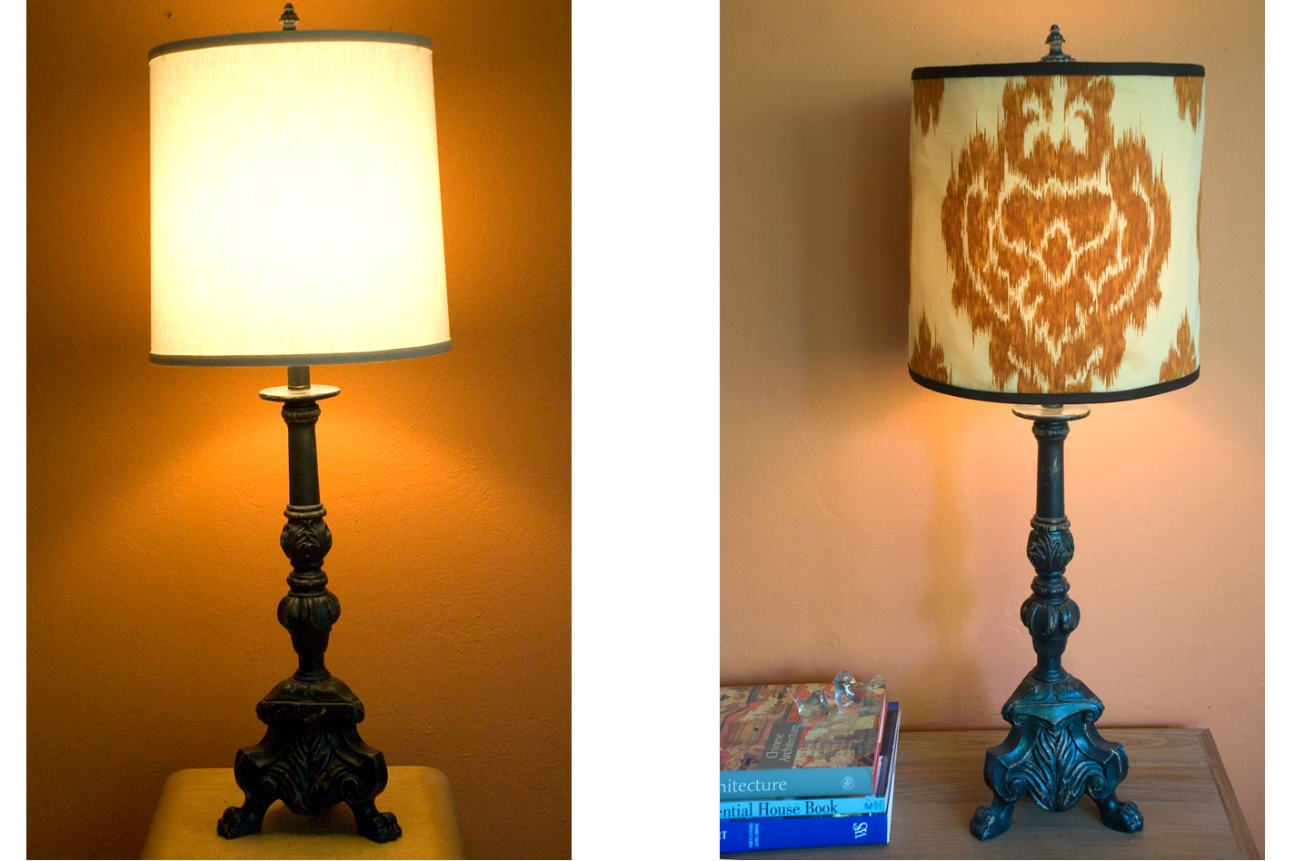 Diy salvage making a lamp shade cover forma living - Diy lamp shade ...